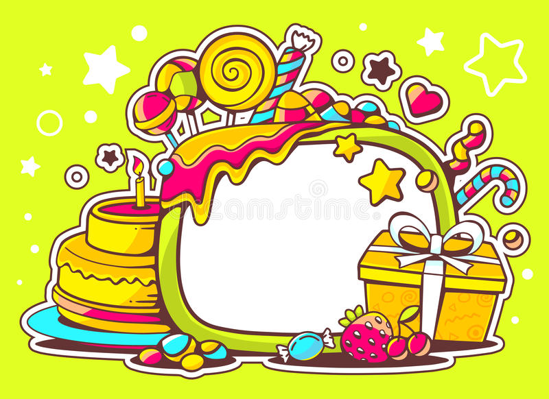 Illustration of cake, gift and sweets with frame on green stock illustration