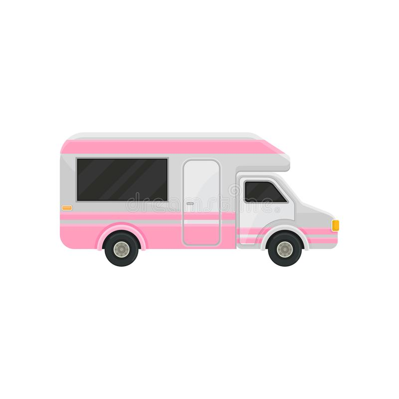 Flat vector icon of camper truck. Gray van with bright pink stripes and black tinted windows. Motor vehicle for family. Illustration of camper truck. Gray van vector illustration
