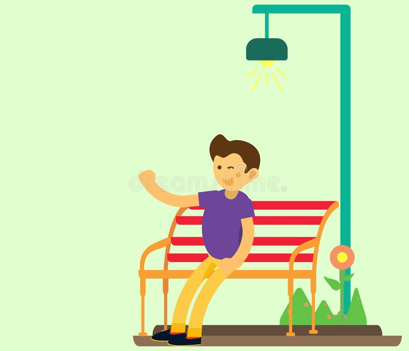Young people sit in garden chairs waving and wearing purple clothes. flat design character stock photo
