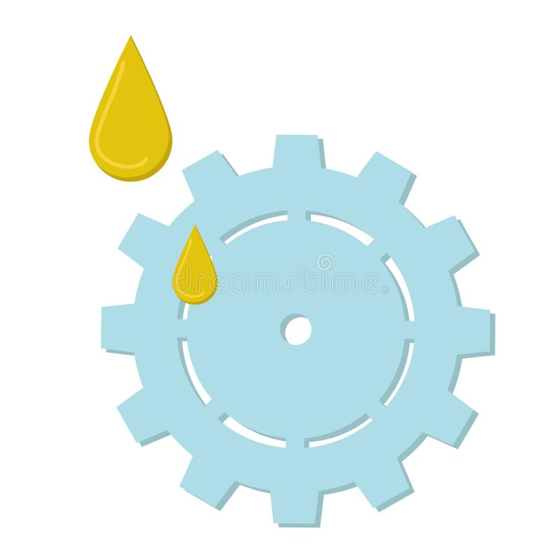 Flat, simple, gray gear and oil droplets isolated on white background, screw, cog. The illustration can be used in mobile and computer games or applications, as stock illustration