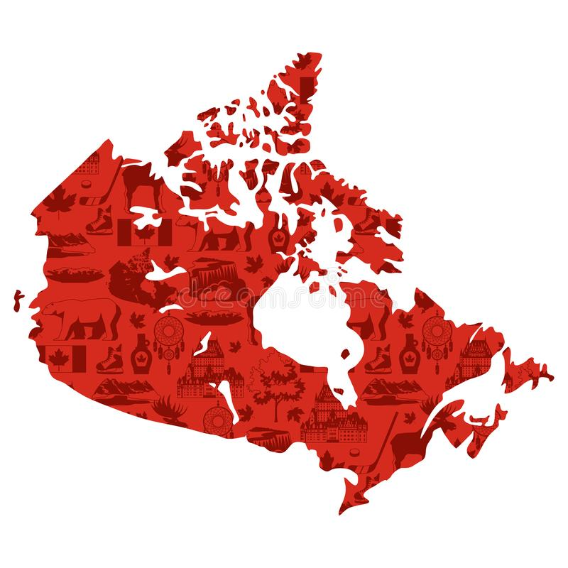 Illustration of Canada map. Canadian traditional symbols and attractions vector illustration