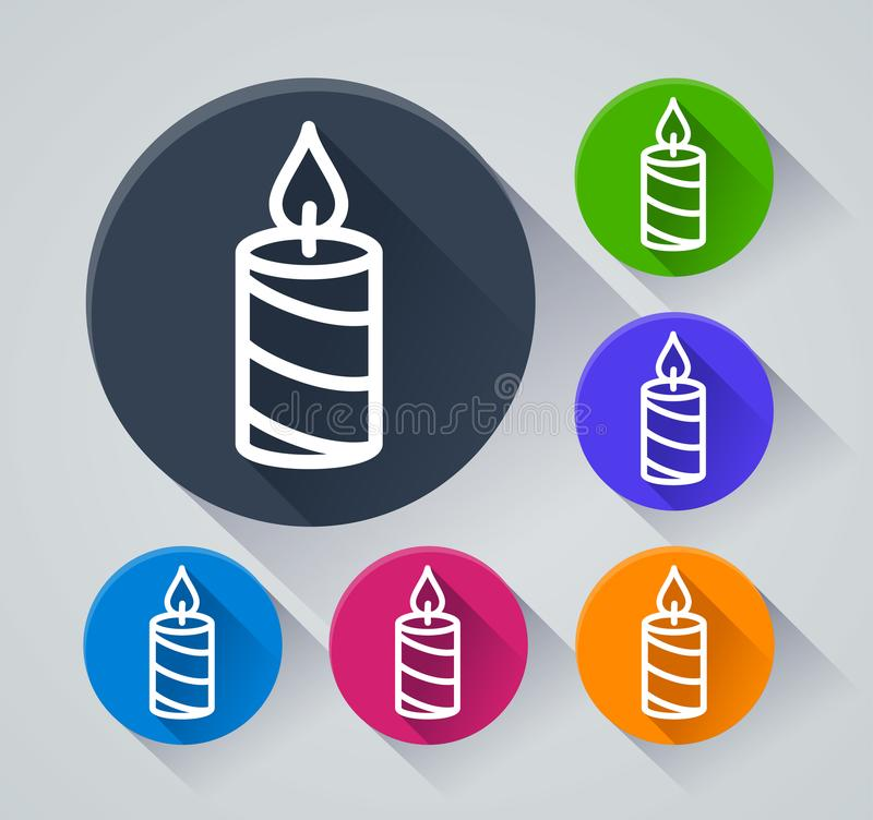 Candle circle icons with shadow vector illustration