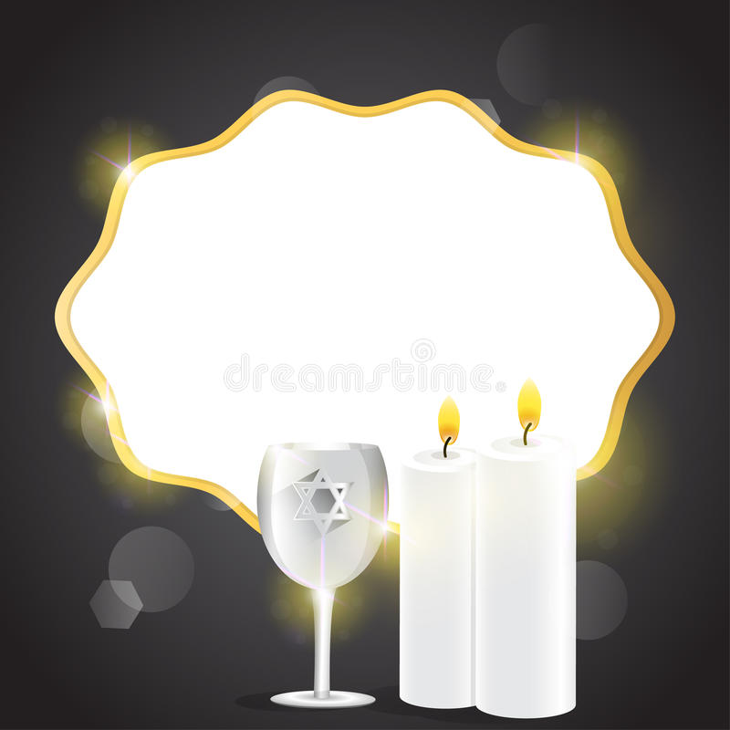 Illustration of candles and kiddush cup. royalty free stock photography