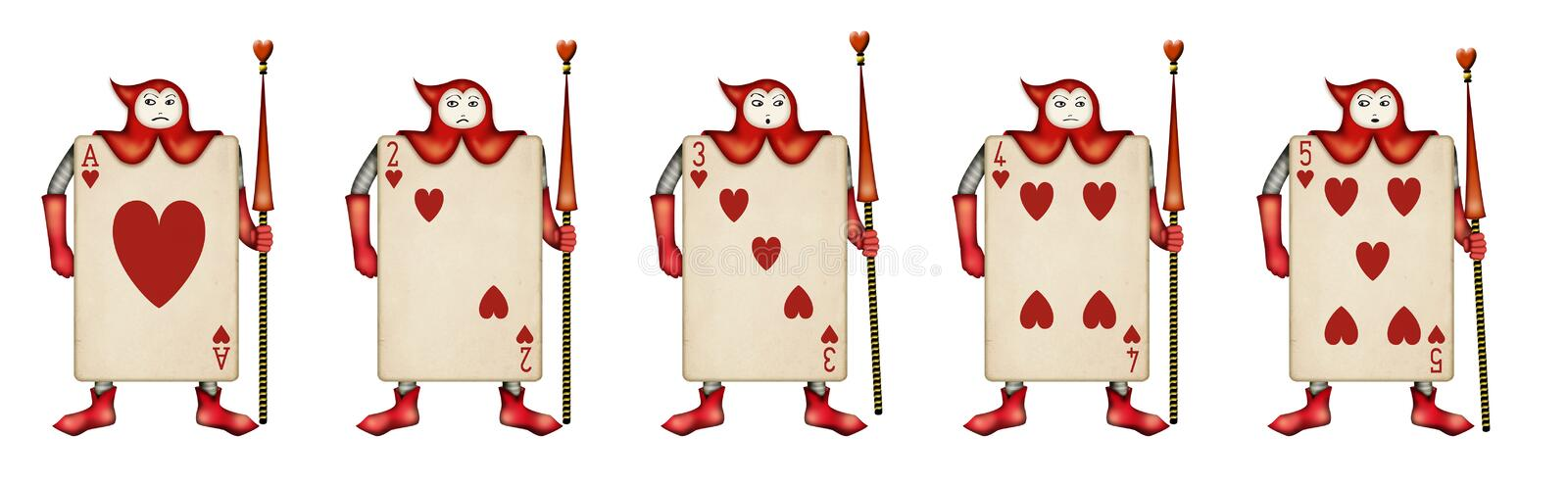 Illustration of Card soldiers Read Hearts from Ali vector illustration