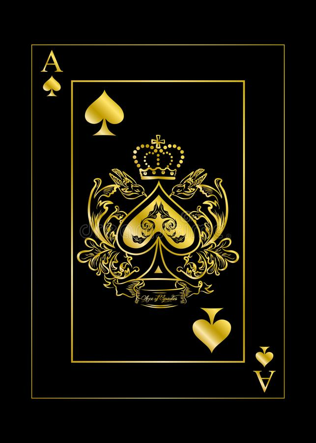 The spades ace gold. The illustration with the card of spades - ace royalty free illustration