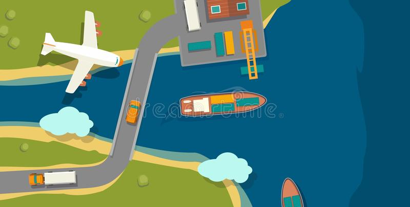 Illustration of a cargo port in flat style. Top view. Ship, harbor, sea, boat, crane, dock, airplane and track. For horizon royalty free illustration