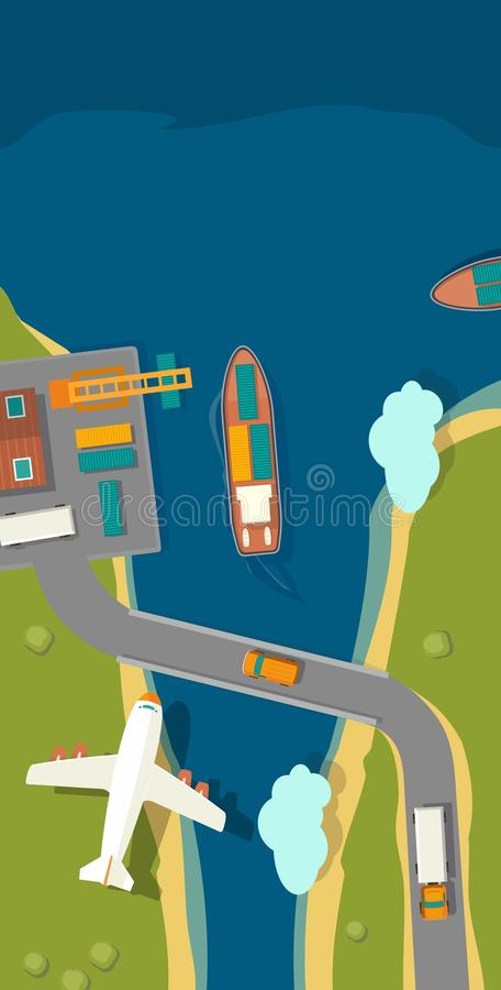 Illustration of a cargo port in flat style. stock illustration