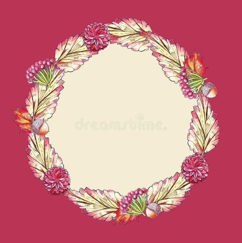 Illustration carrée avec des feuilles et des fleurs dans des couleurs rouges et jaunes d'automne sur le fond lumineux L'image con illustration libre de droits