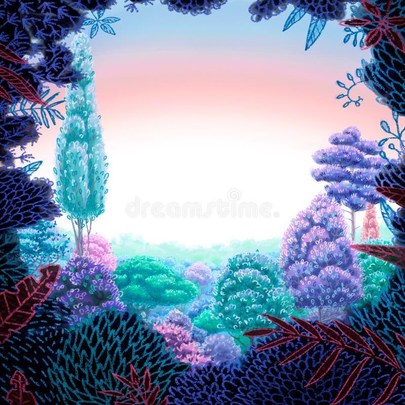 Illustration carrée de Digital du paysage floral de frontière et de ressort avec des couleurs peu communes illustration stock