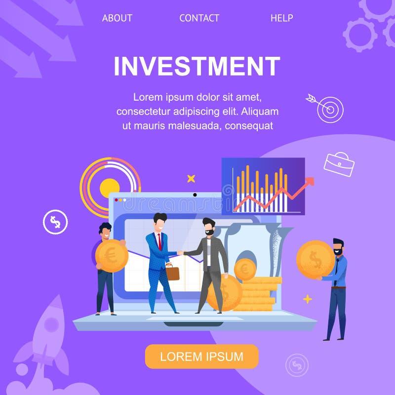 Illustration carrée de vecteur d'investissement de bannière illustration de vecteur