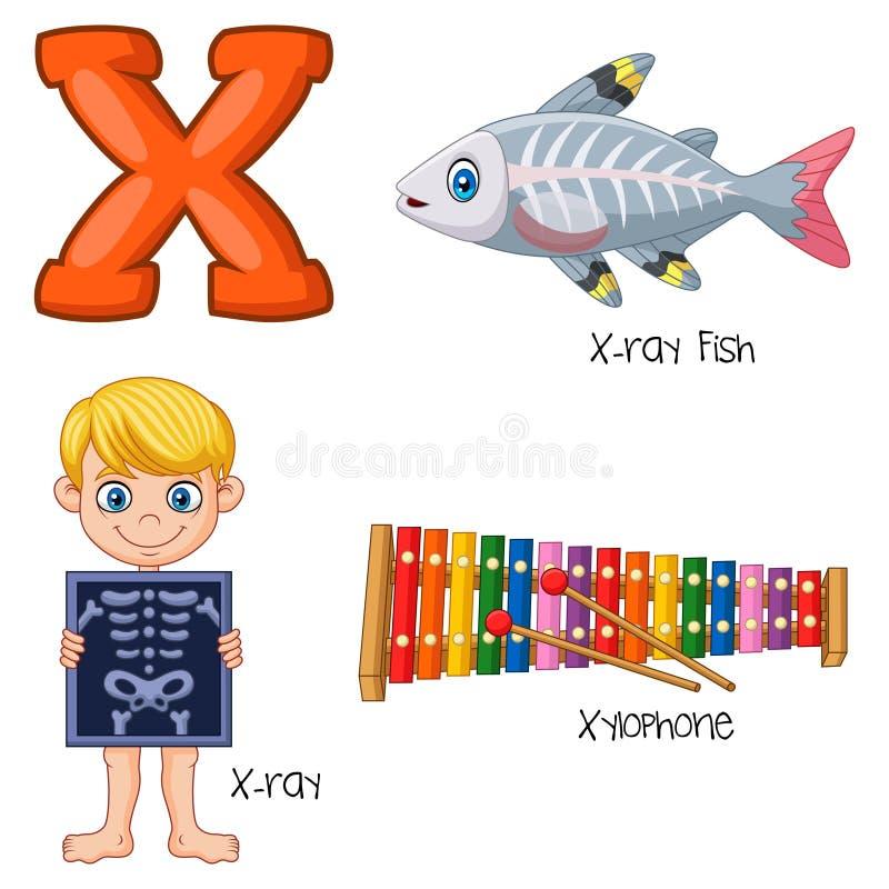 Cartoon X alphabet. Illustration of Cartoon X alphabet royalty free illustration