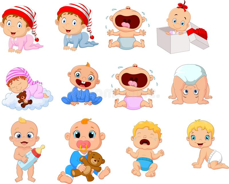 Cartoon babies in different expressions. Illustration of Cartoon babies in different expressions vector illustration