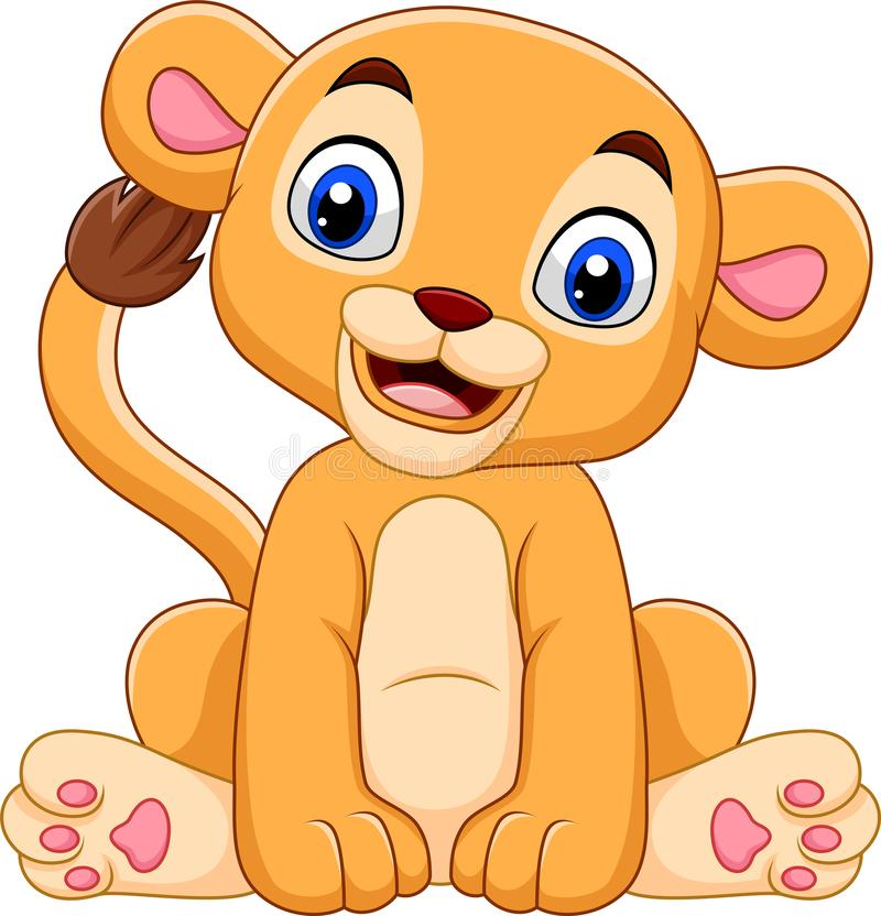 Cartoon baby lioness isolated on white background. Illustration of Cartoon baby lioness isolated on white background royalty free illustration