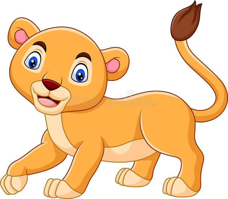 Cartoon baby lioness isolated on white background. Illustration of Cartoon baby lioness isolated on white background vector illustration