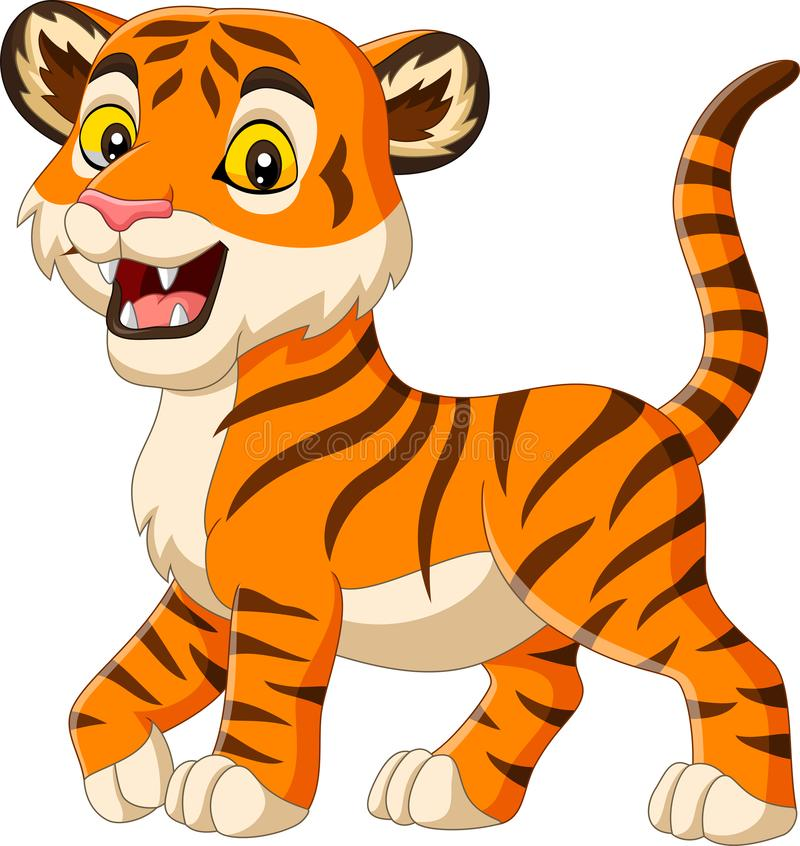 Cartoon baby tiger isolated on white background. Illustration of Cartoon baby tiger isolated on white background stock illustration