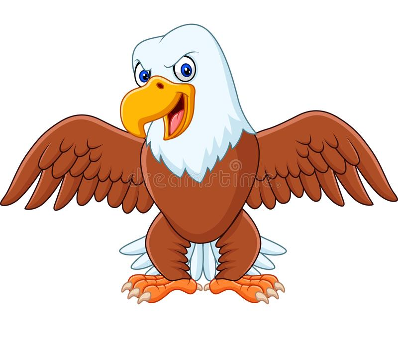 Cartoon bald eagle with wings extended royalty free illustration