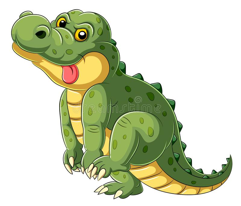 Cartoon a big alligator with tongue hanging out stock photo