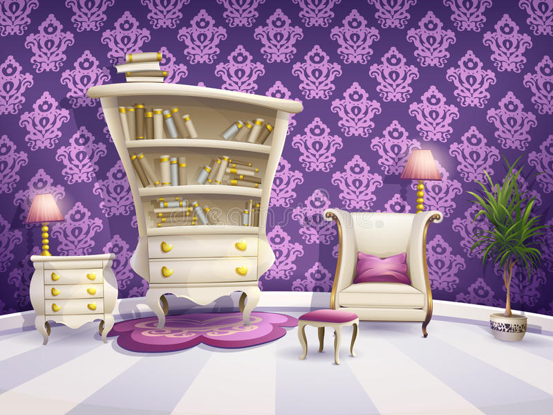 Illustration of a cartoon book cabinet with white furniture for little princesses.  royalty free illustration