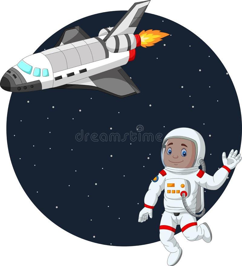 Cartoon boy astronaut with space shuttle vector illustration