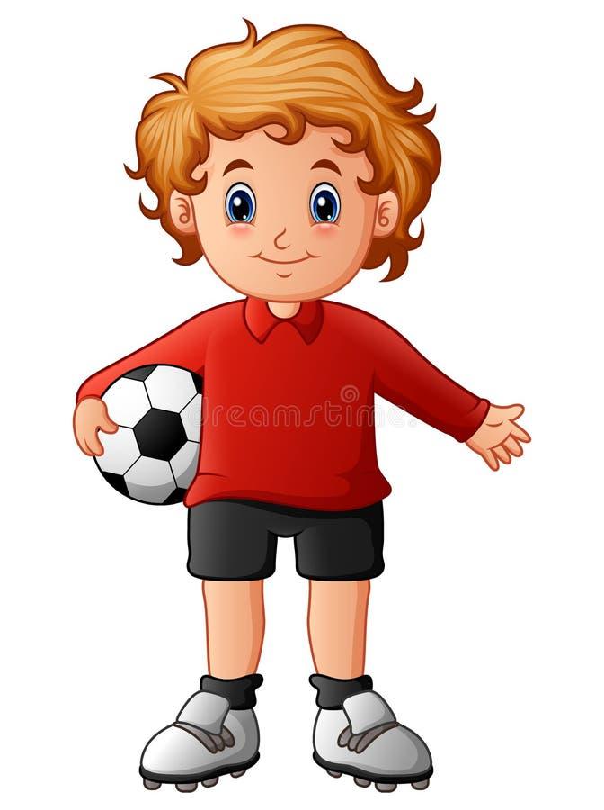 Cartoon boy holding soccer ball stock illustration