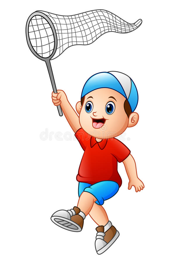 Cartoon boy with a net royalty free illustration