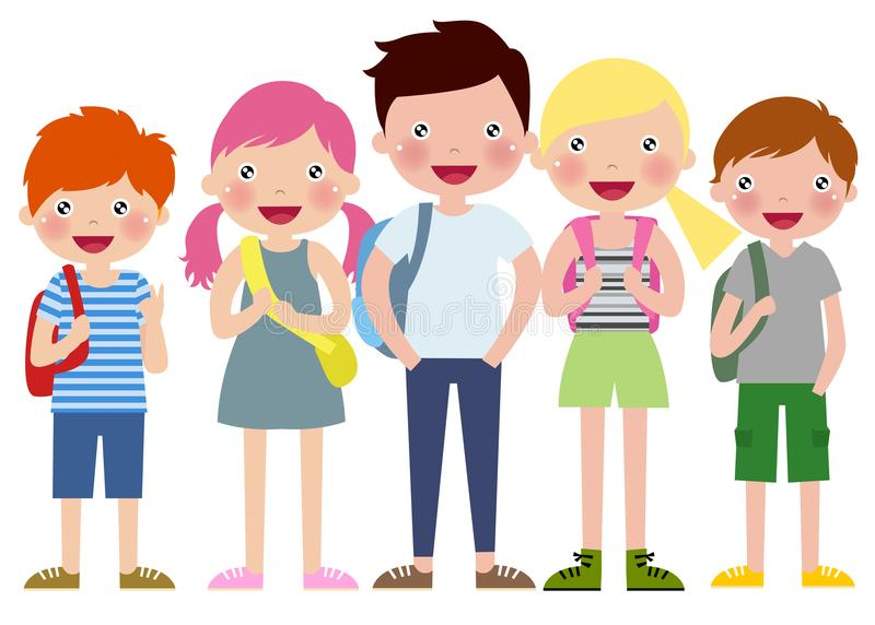 Cartoon Boys and girls with backpacks royalty free illustration