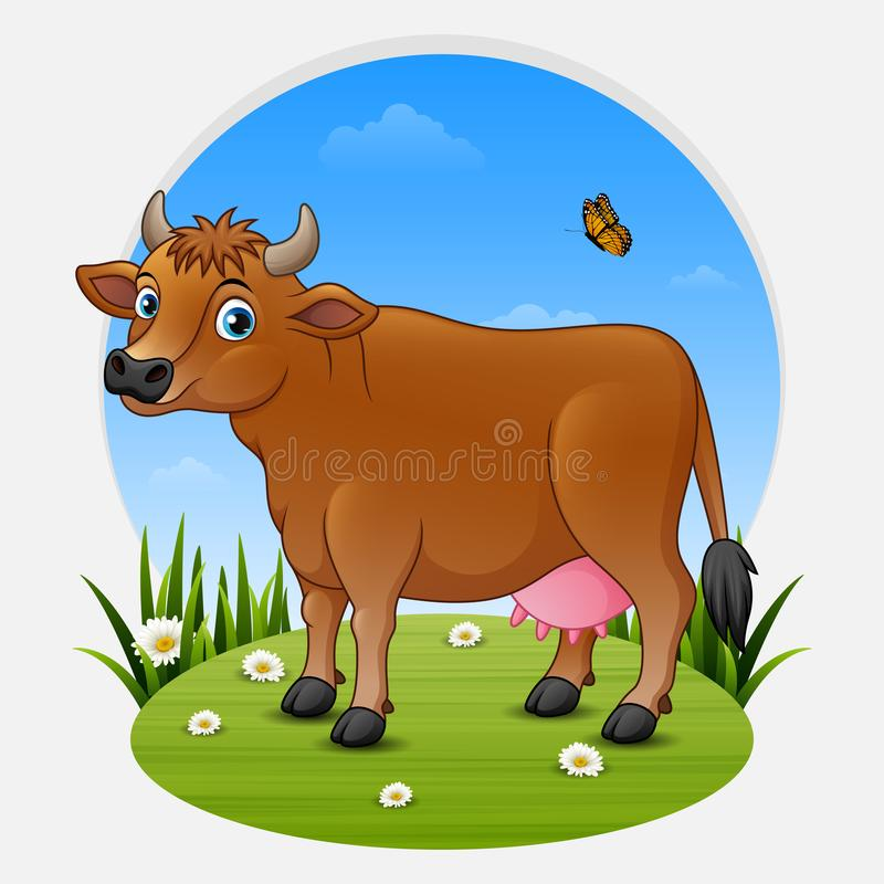 Cartoon brown cow on green meadow stock illustration