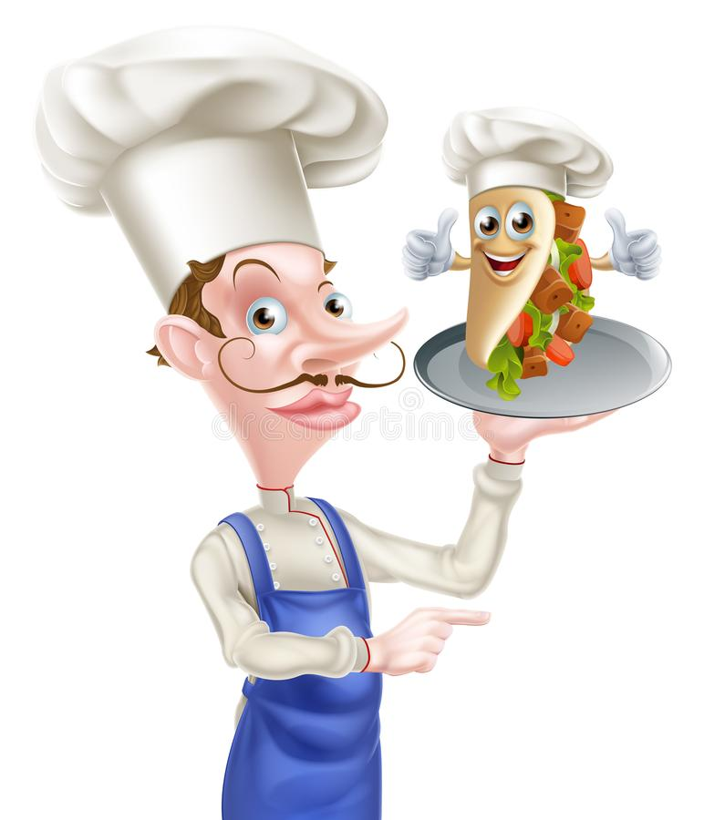 Cartoon Chef and Kebab. An Illustration of a Cartoon Chef and Kebab royalty free illustration