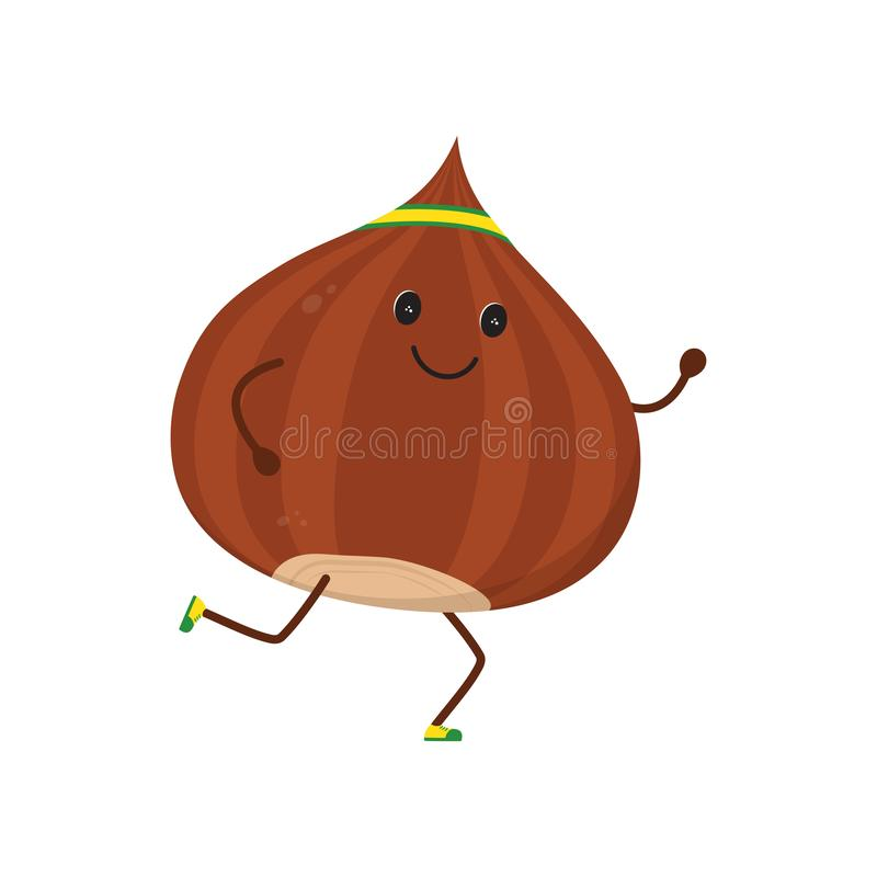Fitness nut isolated. Illustration with cartoon chestnut running, banner with athletic nut royalty free illustration