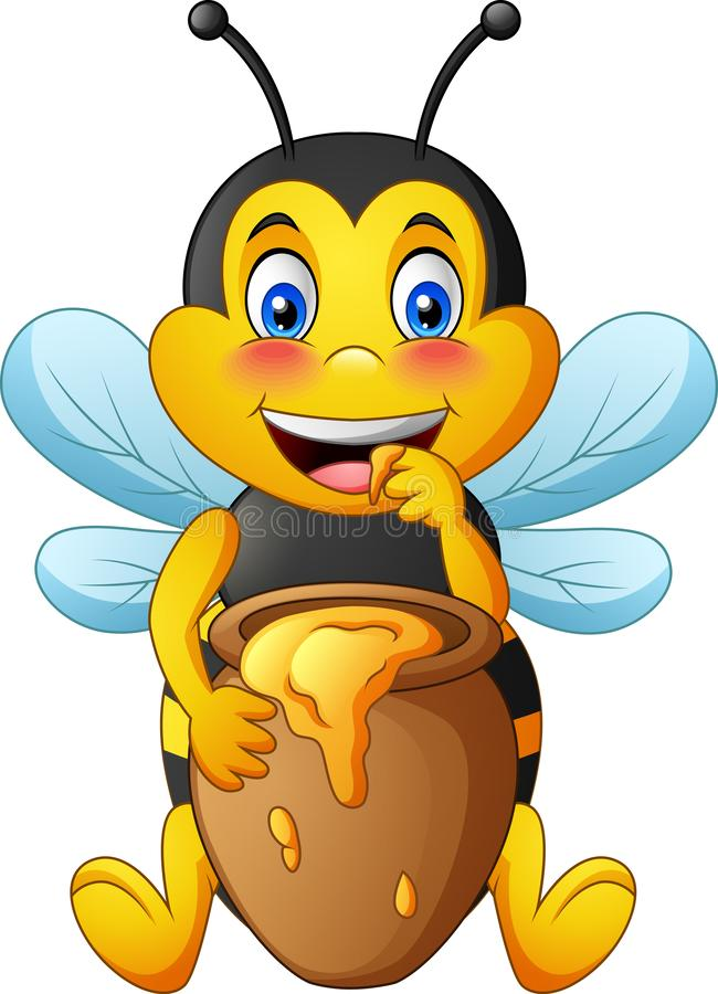 Cartoon cute bee with clay pot full of honey royalty free illustration