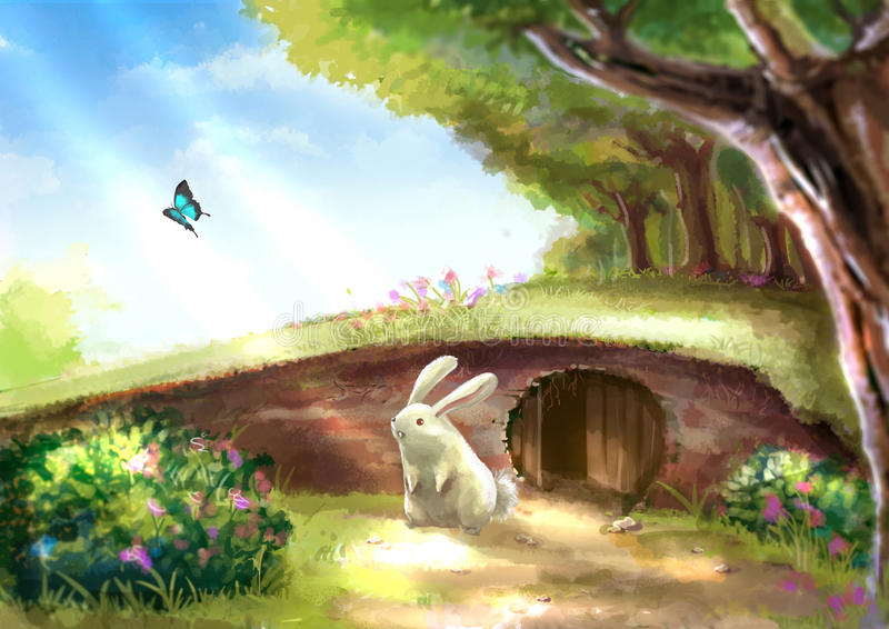 Illustration of cartoon cute white rabbit bunny is standing near. The rabbit hole in beautiful garden with colorful flowers tree plants and morning sunshine royalty free illustration