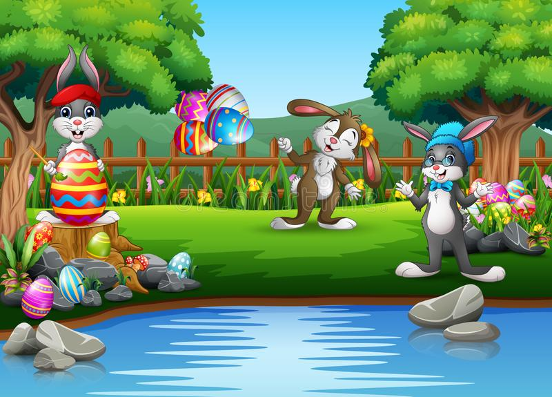 Cartoon easter rabbit playing in the park vector illustration