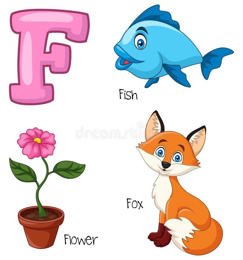 Cartoon F alphabet. Illustration of Cartoon F alphabet stock illustration