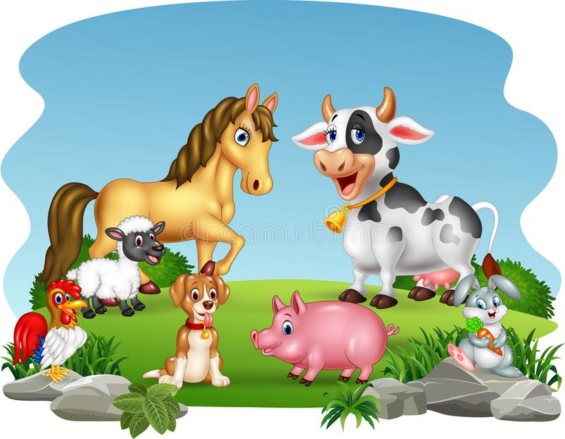 Cartoon farm animals with nature background royalty free illustration