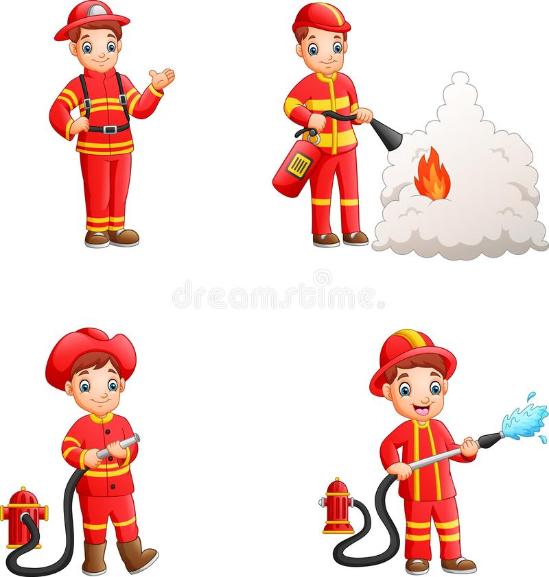 Cartoon firefighters collection with different action poses. Illustration of Cartoon firefighters collection with different action poses royalty free illustration