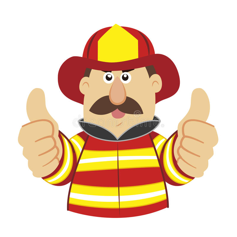 An illustration of cartoon fireman. Vector vector illustration