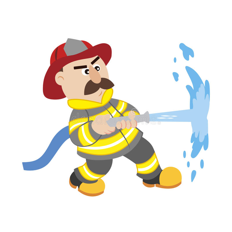 An Illustration Of Cartoon Fireman Stock Vector