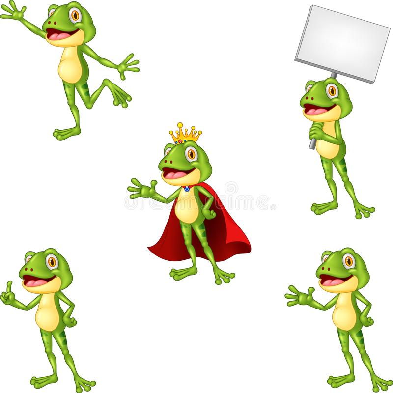 Cartoon frog collection set royalty free illustration