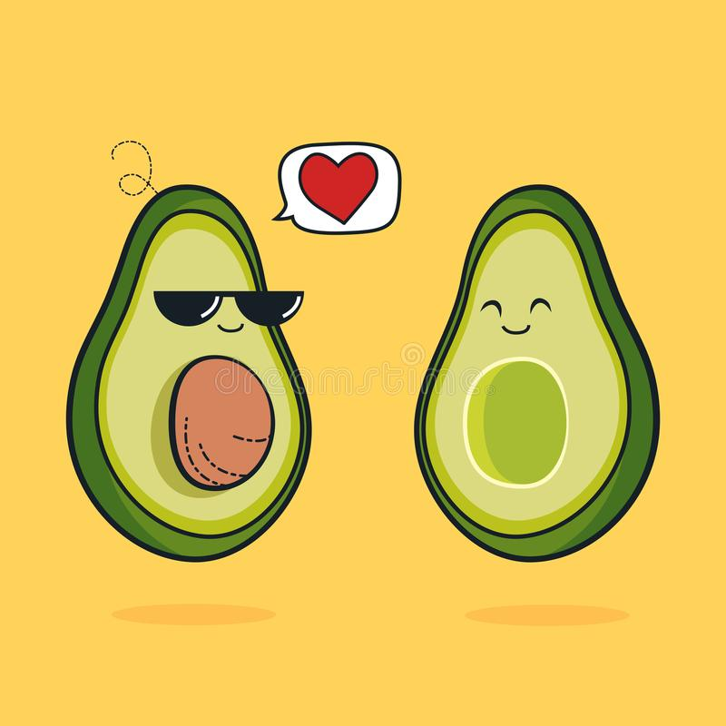 Illustration cartoon funny avocado icon with black sunglasses, cute characters design lover for valentines day avocado concept wit royalty free illustration