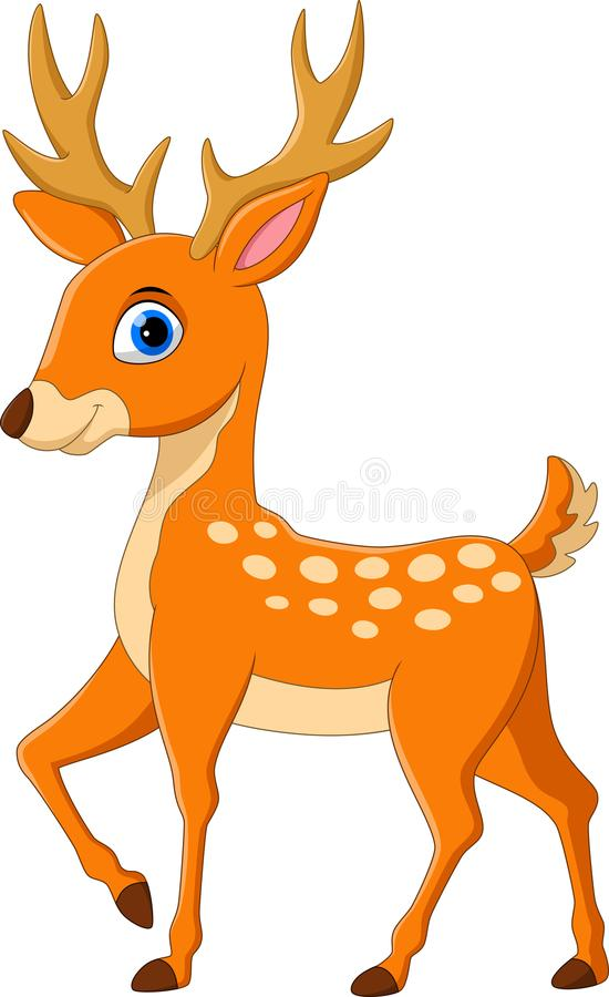 Cartoon funny deer. Funny and adorable stock illustration