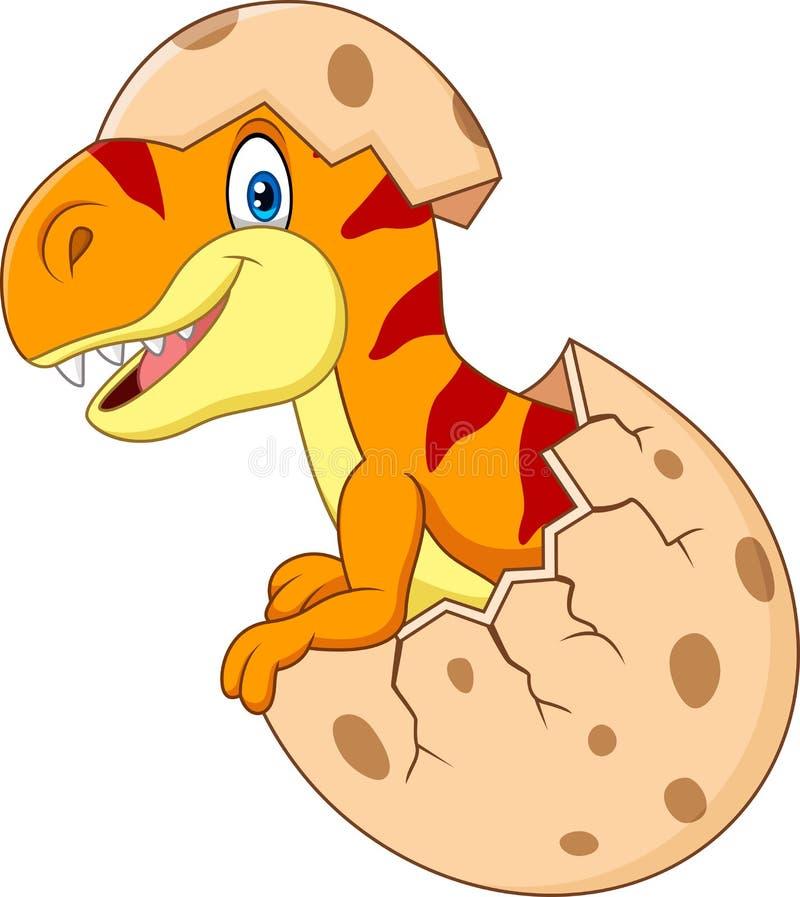 Cartoon funny dinosaur hatching. Illustration of Cartoon funny dinosaur hatching vector illustration