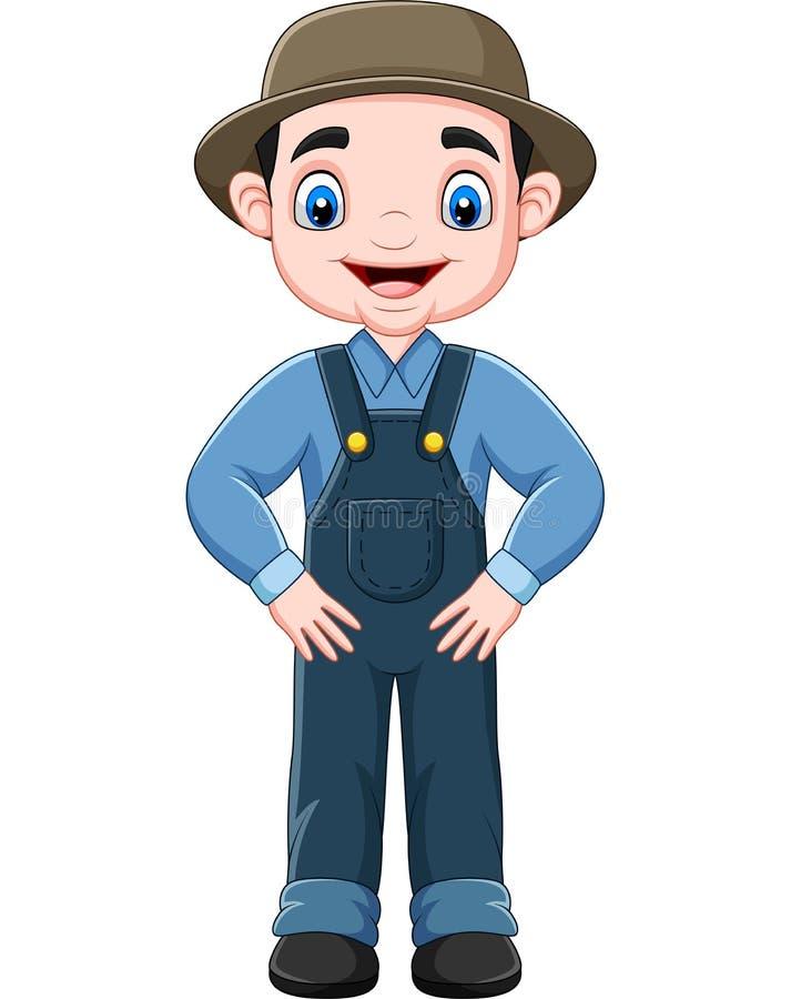 Cartoon funny farmer posing. Illustration of Cartoon funny farmer posing stock illustration