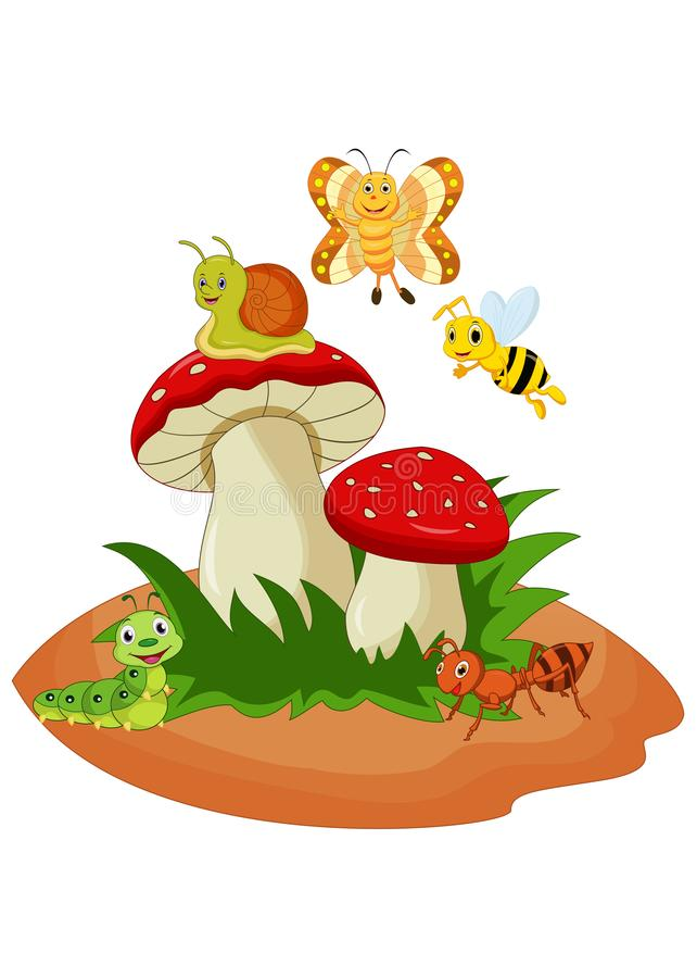 Cartoon funny insects with mushroom royalty free illustration