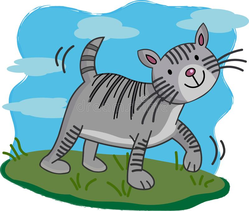 Illustration of Cute cat cartoon walking. Illustration of Cartoon grey kitty. Vector picture for book pages vector illustration