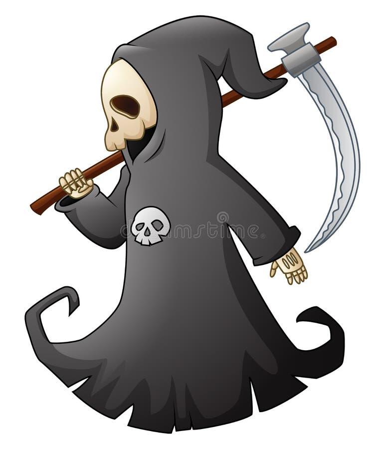 Cartoon grim reaper with scythe stock illustration