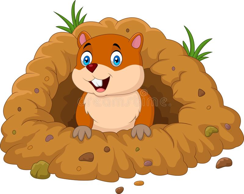Cartoon groundhog looking out of hole royalty free illustration