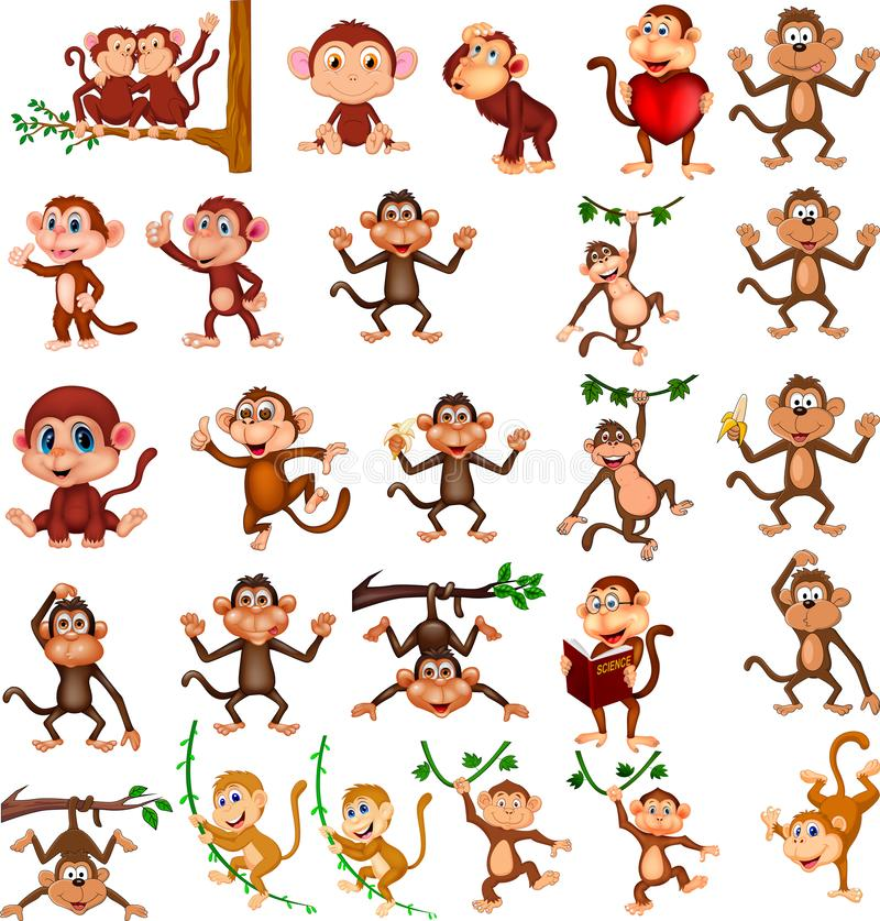 Cartoon happy monkey collection with different actions. Illustration of Cartoon happy monkey collection with different actions vector illustration