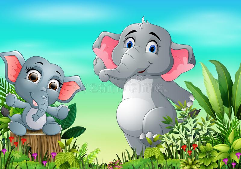 Cartoon happy mother and baby elephant in the park stock illustration