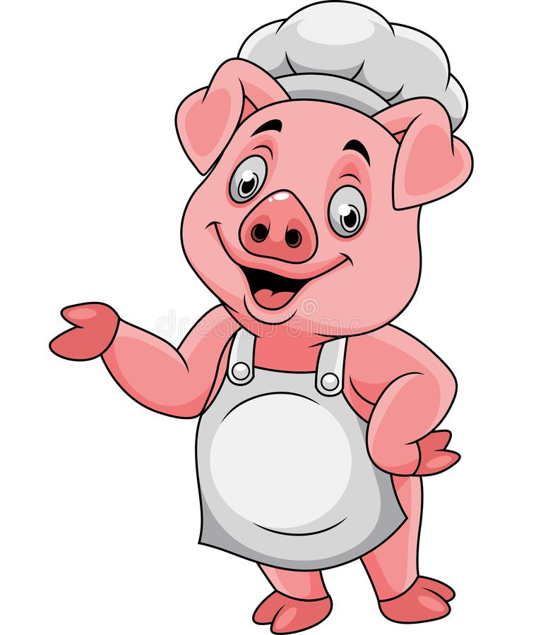 Cartoon happy pig chef presenting royalty free illustration