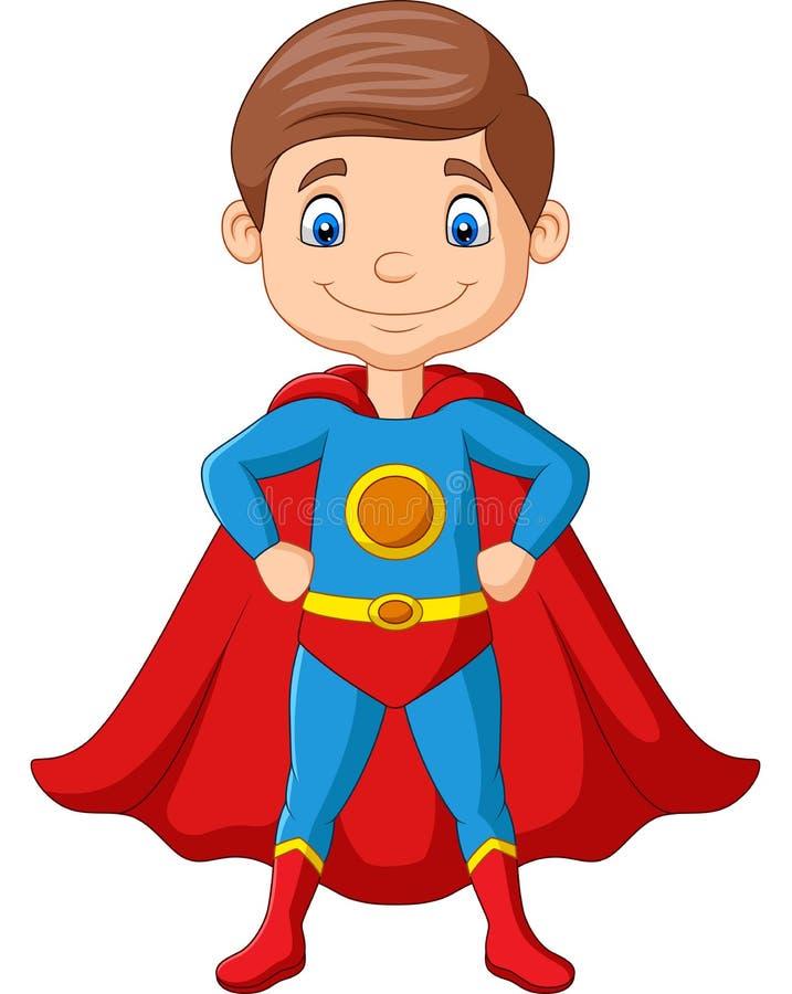 Cartoon happy superhero boy posing vector illustration